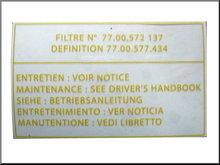 Transparante sticker voor het luchtfilter R16 TX.